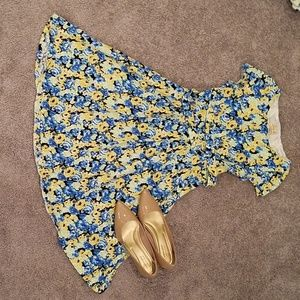 Yellow blue and black floral full skirt dress